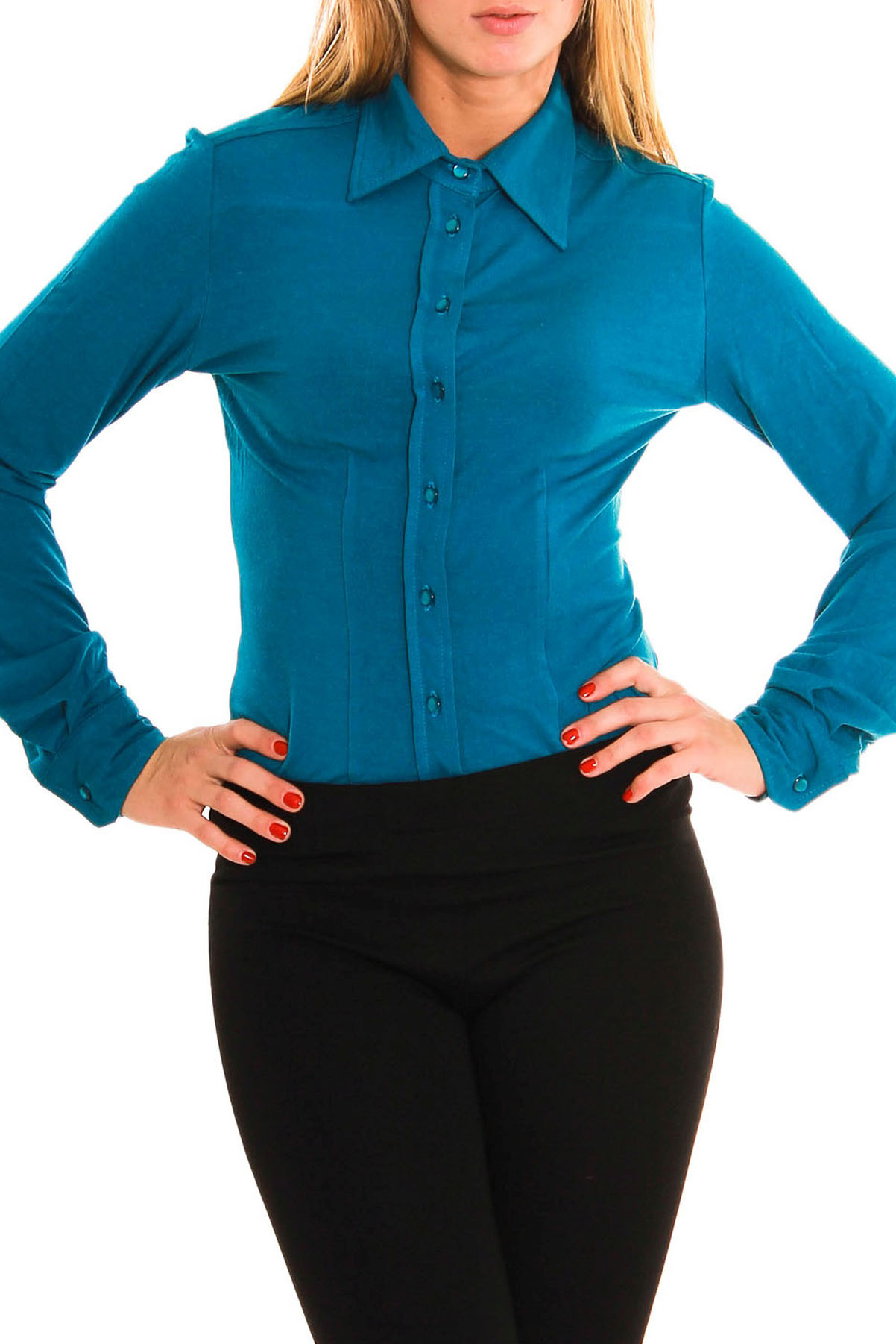Рубашка-бодиБоди<br>Женская рубашка-боди из мягкой вискозы.  Рост девушки-фотомодели 170 см.<br><br>Воротник: Рубашечный<br>По материалу: Вискоза,Трикотаж<br>По образу: Город,Офис,Свидание,Деним (джинс)<br>По рисунку: Однотонные<br>По сезону: Осень,Весна<br>По форме: Рубашка-боди<br>Рукав: Длинный рукав<br>По стилю: Винтаж,Классический стиль,Повседневный стиль<br>Размер : 42,44,46,48<br>Материал: Вискоза<br>Количество в наличии: 3