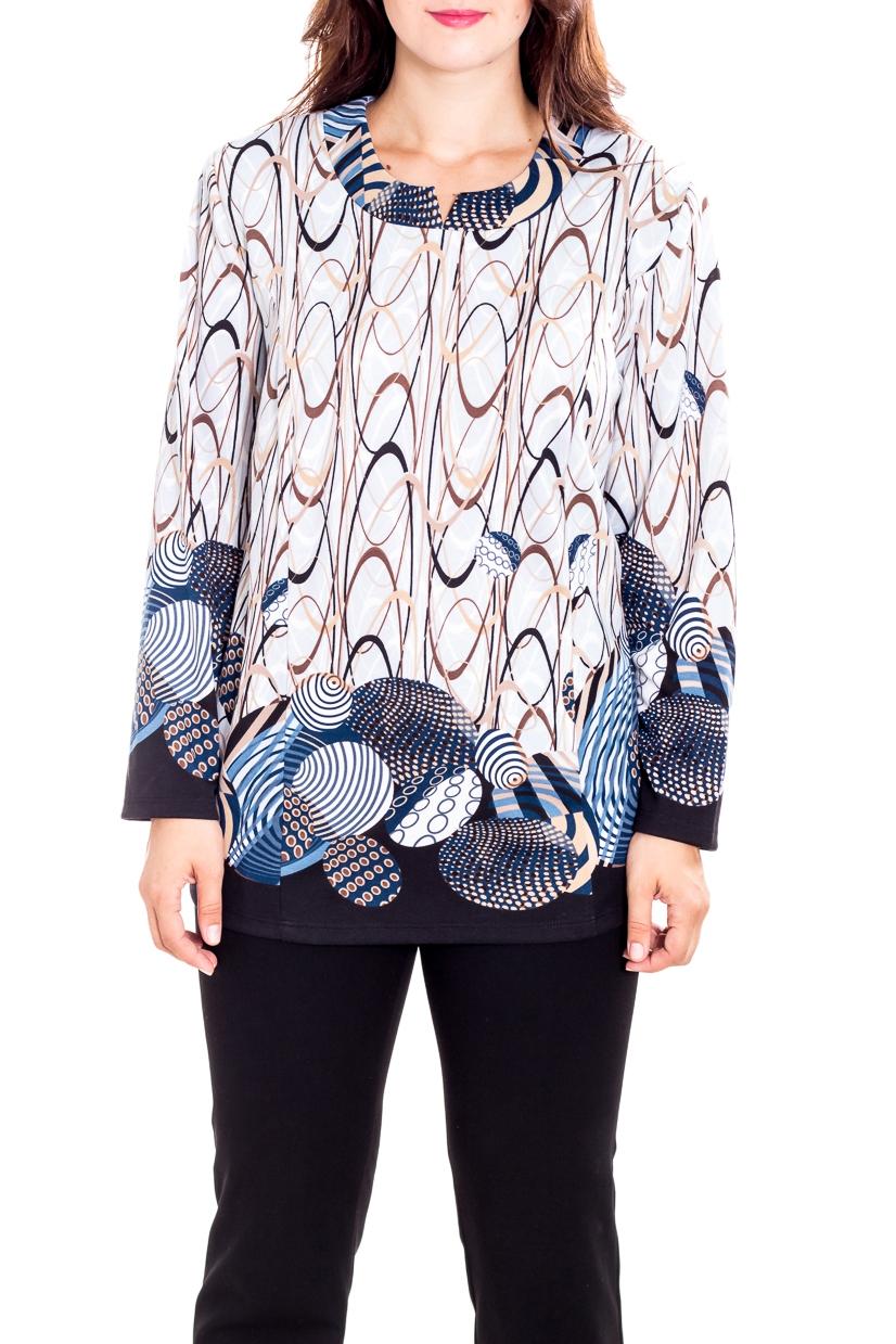 БлузкаТуники<br>Красивая блузка с фигурной горловиной и длинными рукавами. Модель выполнена из приятного трикотажа. Отличный выбор для повседневного гардероба.  В изделии использованы цвета: белый, синий, голубой, бежевый, коричневый  Рост девушки-фотомодели 180 см.<br><br>Горловина: Фигурная горловина<br>По материалу: Трикотаж<br>По рисунку: С принтом,Цветные<br>По силуэту: Полуприталенные<br>По стилю: Повседневный стиль<br>Рукав: Длинный рукав<br>По сезону: Осень,Весна<br>Размер : 60,64,66,68,70,72,74,78<br>Материал: Трикотаж<br>Количество в наличии: 8