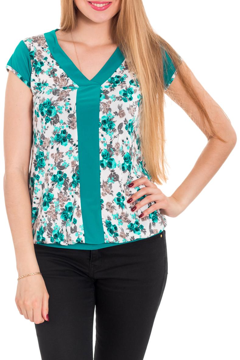 БлузкаБлузки<br>Замечательная блузка с короткими рукавами. Модель выполнена из приятного трикотажа. Отличный выбор для любого случая.  Цвет: бирюзовый, белый  Рост девушки-фотомодели 170 см.<br><br>Горловина: V- горловина<br>По материалу: Вискоза,Трикотаж<br>По рисунку: Растительные мотивы,С принтом,Цветные,Цветочные<br>По сезону: Весна,Зима,Лето,Осень,Всесезон<br>По силуэту: Полуприталенные<br>По стилю: Повседневный стиль,Летний стиль<br>Рукав: Короткий рукав<br>Размер : 44,46,50,52<br>Материал: Холодное масло<br>Количество в наличии: 4