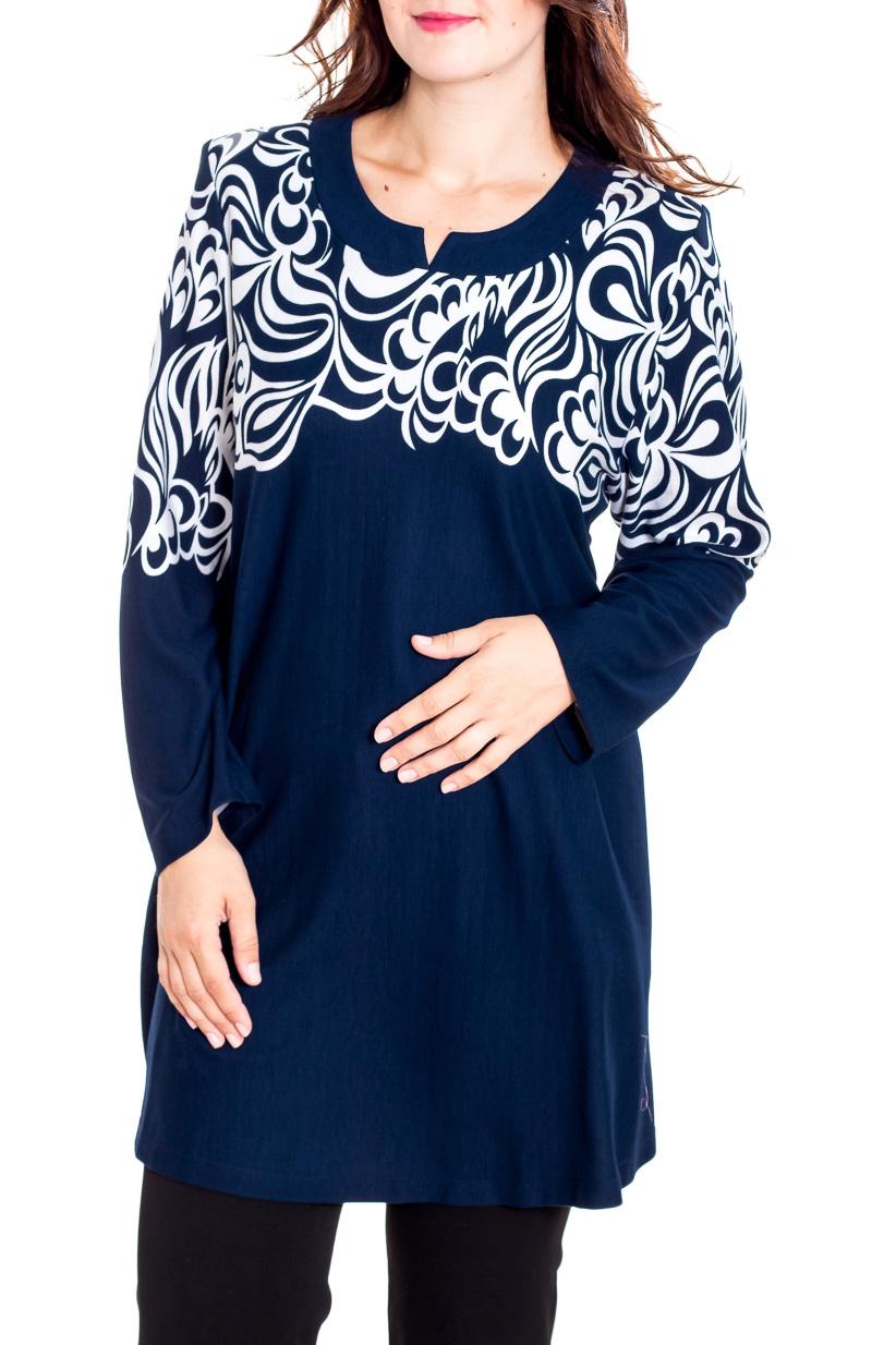 БлузкаТуники<br>Красивая блузка с фигурной горловиной и длинными рукавами. Модель выполнена из приятного трикотажа. Отличный выбор для повседневного гардероба.  В изделии использованы цвета: синий, белый  Рост девушки-фотомодели 180 см.<br><br>Горловина: Фигурная горловина<br>По материалу: Вискоза,Трикотаж<br>По рисунку: С принтом,Цветные<br>По силуэту: Полуприталенные<br>По стилю: Повседневный стиль<br>Рукав: Длинный рукав<br>По сезону: Осень,Весна<br>Размер : 62,64,66,78<br>Материал: Трикотаж<br>Количество в наличии: 4