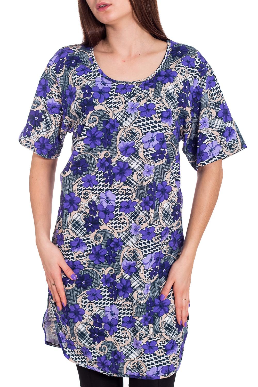 ТуникаТуники<br>Уютная туника из мягкого хлопка. Домашняя одежда, прежде всего, должна быть удобной, практичной и красивой. В тунике Вы будете чувствовать себя комфортно, особенно, по вечерам после трудового дня.  В изделии использованы цвета: белый, синий и др.  Рост девушки-фотомодели 173 см.<br><br>Горловина: С- горловина<br>По длине: Удлиненные<br>По материалу: Хлопок<br>По рисунку: Растительные мотивы,С принтом,Цветные,Цветочные<br>По сезону: Весна,Зима,Лето,Осень,Всесезон<br>По силуэту: Полуприталенные<br>Рукав: Короткий рукав<br>Размер : 46<br>Материал: Хлопок<br>Количество в наличии: 1