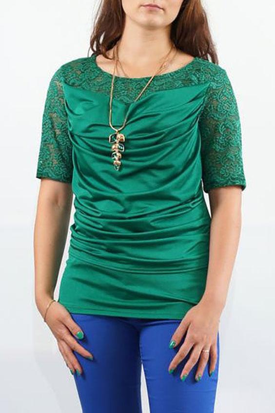 БлузкаБлузки<br>Торжественная блуза из трикотажа и эластичного гипюра с эффектом многослойности, красивый цвет всегда смотриться очень дорого и изысканно. Перед с кокеткой из гипюра и нагрудной вытачкой из бокового шва. Поверх переда наложена отлетная по низу деталь из тонкого трикотажа с качелью по верхнему срезу и задрапированная по шву проймы и боковому шву.  Спинка с кокеткой из гипюра. Рукава втачные, длиной до локтя. Горловина округлая.  Длина изделия: До 48 размера - 65,0 см; 50-56 размеры – 69,0 см  Цвет: зеленый  Ростовка изделия 170 см.<br><br>Горловина: Качель<br>По материалу: Гипюр,Трикотаж<br>По рисунку: Однотонные<br>По сезону: Весна,Зима,Лето,Осень,Всесезон<br>По силуэту: Прямые<br>По стилю: Нарядный стиль,Вечерний стиль<br>Рукав: До локтя<br>Размер : 46,48,50,58<br>Материал: Холодное масло + Гипюр<br>Количество в наличии: 4