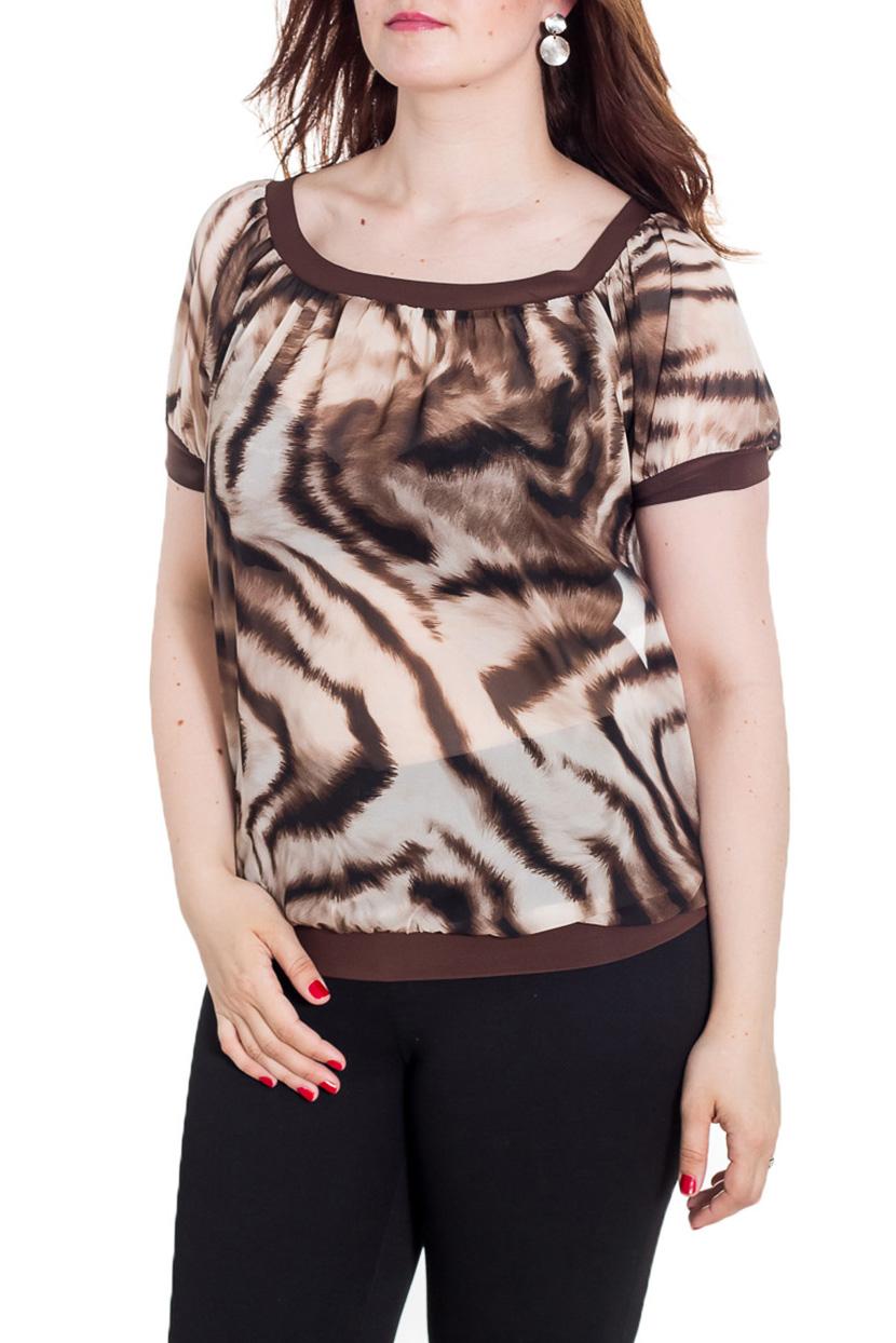 БлузкаБлузки<br>Унивесальная блузка с короткими рукавами. Модель выполнена из приятного трикотажа. Отличный выбор для любого случая.  Цвет: бежевый, коричневый  Рост девушки-фотомодели 180 см<br><br>Горловина: С- горловина<br>По материалу: Вискоза,Шифон<br>По рисунку: Животные мотивы,С принтом,Цветные<br>По сезону: Весна,Зима,Лето,Осень,Всесезон<br>По силуэту: Полуприталенные<br>По стилю: Повседневный стиль,Летний стиль<br>Рукав: Короткий рукав<br>По элементам: С манжетами<br>Размер : 46,50<br>Материал: Шифон<br>Количество в наличии: 2