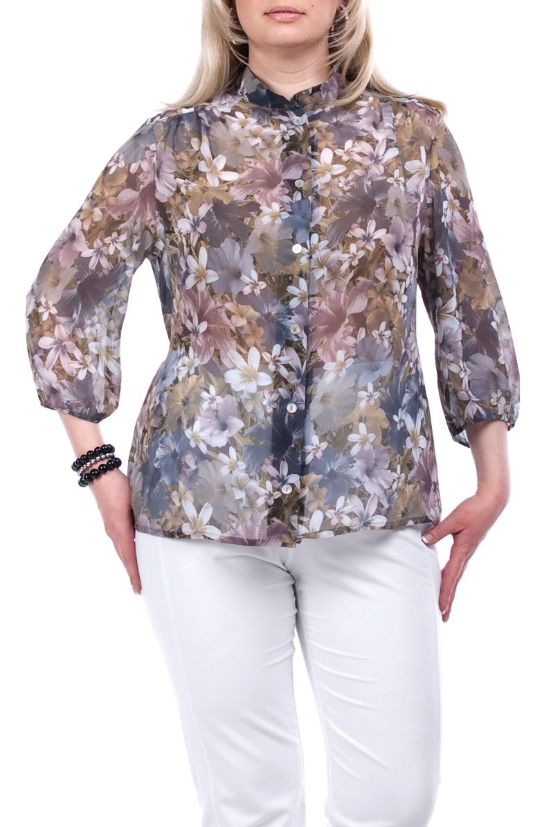 БлузкаБлузки<br>Воздушная блузка с рукавами 3/4. Модель выполнена из приятного материала. Отличный выбор для любого случая.  Цвет: сиреневый, бежевый, розовый  Рост девушки-фотомодели 173 см.<br><br>Воротник: Стойка<br>Застежка: С пуговицами<br>По материалу: Шифон<br>По образу: Город,Свидание<br>По рисунку: Растительные мотивы,Цветные,Цветочные<br>По сезону: Весна,Всесезон,Зима,Лето,Осень<br>По силуэту: Полуприталенные<br>По стилю: Нарядный стиль,Повседневный стиль<br>Рукав: Рукав три четверти<br>Размер : 54,56,64,66<br>Материал: Шифон<br>Количество в наличии: 11