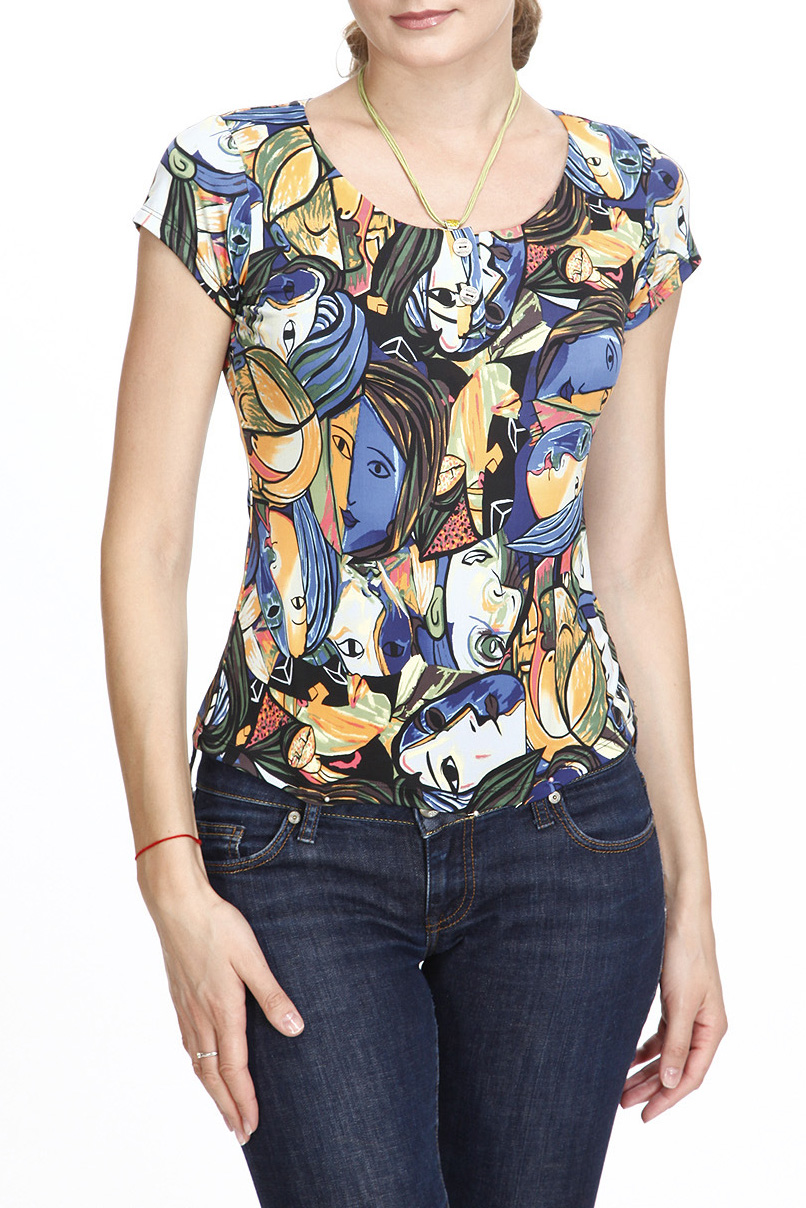 БлузкаБлузки<br>Цветная блузка с круглой горловиной и короткими рукавами. Модель выполнена из приятного трикотажа. Отличный выбор для повседневного гардероба. Ростовка изделия 170 см.  В изделии использованы цвета: синий, желтый, зеленый и др.  Рост девушки-фотомодели 180 см<br><br>Горловина: С- горловина<br>По материалу: Вискоза,Трикотаж<br>По рисунку: Абстракция,С принтом,Цветные<br>По сезону: Весна,Зима,Лето,Осень,Всесезон<br>По силуэту: Приталенные<br>По стилю: Повседневный стиль,Летний стиль<br>Рукав: Короткий рукав<br>Размер : 42,44<br>Материал: Холодное масло<br>Количество в наличии: 2
