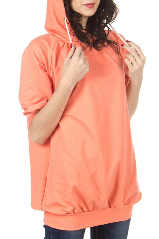 ТолстовкаСпортивная одежда<br>Теплая удлиненная толстовка с капюшоном. Цвет: коралловый.<br><br>По рисунку: Однотонные<br>По сезону: Весна,Осень<br>По силуэту: Свободные<br>По элементам: С капюшоном,С манжетами<br>По материалу: Трикотаж,Хлопок<br>По стилю: Молодежный стиль,Повседневный стиль,Спортивный стиль<br>Рукав: Рукав три четверти<br>Размер : 44,46,48,52<br>Материал: Трикотаж<br>Количество в наличии: 4
