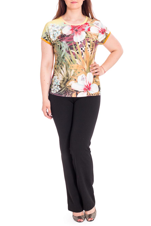 БлузкаБлузки<br>Цветная блузка с короткими рукавами. Модель выполнена из приятного материала. Отличный выбор для любого случая.В изделии использованы цвета: оранжевый, зеленый и др.Рост девушки-фотомодели 180 см.<br><br>Горловина: С- горловина<br>Рукав: Короткий рукав<br>Материал: Трикотаж<br>Рисунок: Растительные мотивы,С принтом,Цветные,Цветочные<br>Сезон: Весна,Всесезон,Зима,Лето,Осень<br>Силуэт: Полуприталенные<br>Стиль: Летний стиль,Повседневный стиль<br>Размер : 46,48,50,52,54,56,58,60<br>Материал: Холодное масло<br>Количество в наличии: 8