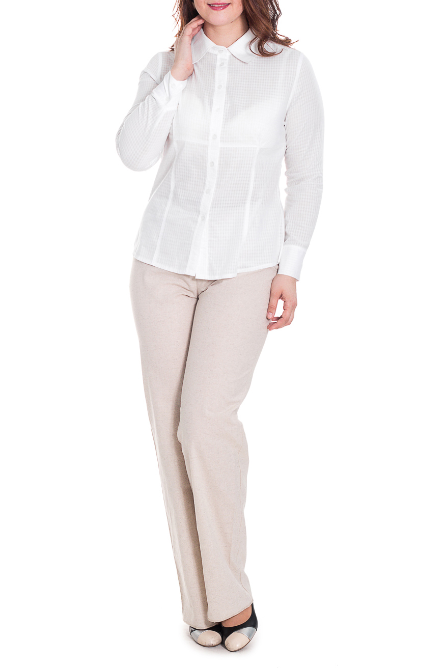 РубашкаРубашки<br>Классическая женская рубашка из приятного к телу хлопка станет основой Вашего повседневного гардероба. Застежка - пуговицы.  Цвет: белый.  Рост девушки-фотомодели 180 см<br><br>Воротник: Рубашечный,Стояче-отложной<br>Застежка: С пуговицами<br>По материалу: Хлопок<br>По рисунку: Однотонные<br>По сезону: Весна,Зима,Лето,Осень,Всесезон<br>По силуэту: Полуприталенные<br>По стилю: Классический стиль,Кэжуал,Офисный стиль,Повседневный стиль<br>По элементам: С воротником,С манжетами<br>Рукав: Длинный рукав<br>Размер : 44<br>Материал: Хлопок<br>Количество в наличии: 1