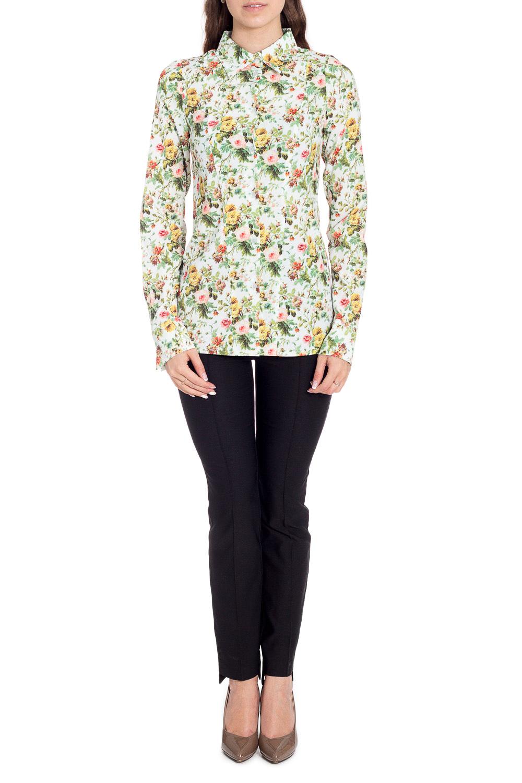 БлузкаРубашки<br>Цветная блузка с длинными рукавами. Модель выполнена из приятного материала. Отличный выбор для любого случая.  В изделии использованы цвета: зеленый и др.  Рост девушки-фотомодели 170 см<br><br>Воротник: Рубашечный<br>Застежка: С пуговицами<br>По материалу: Вискоза,Тканевые,Шелк<br>По образу: Город,Свидание<br>По рисунку: Растительные мотивы,С принтом,Цветные,Цветочные<br>По сезону: Весна,Зима,Лето,Осень,Всесезон<br>По силуэту: Полуприталенные<br>По стилю: Повседневный стиль<br>По элементам: С манжетами<br>Рукав: Длинный рукав<br>Размер : 44,46,48,50,52<br>Материал: Искусственный шелк<br>Количество в наличии: 5