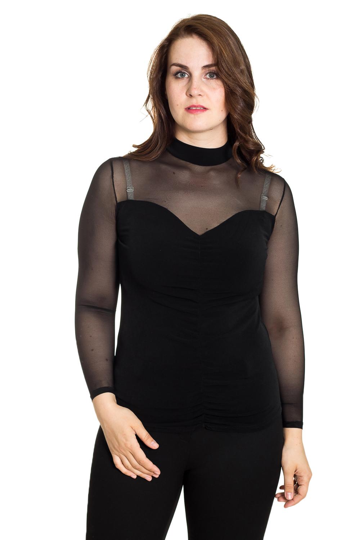БлузкаБлузки<br>Интересная блузка с длинными рукавами. Модель выполнена из мягкого трикотажа. Отличный выбор для повседневного гардероба.  Цвет: черный  Рост девушки-фотомодели 180 см<br><br>Воротник: Стойка<br>По материалу: Гипюровая сетка,Трикотаж<br>По рисунку: Однотонные<br>По сезону: Весна,Зима,Лето,Осень,Всесезон<br>По силуэту: Приталенные<br>По стилю: Нарядный стиль,Повседневный стиль<br>Рукав: Длинный рукав<br>Размер : 46,48,50,52<br>Материал: Холодное масло + Гипюровая сетка<br>Количество в наличии: 8