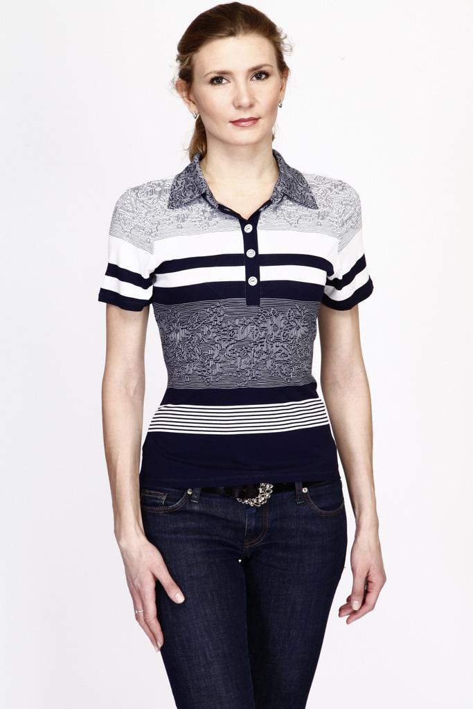 БлузкаБлузки<br>Красивая блузка с рубашечным воротником и короткими рукавами. Модель выполнена из приятного материала. Отличный выбор для повседневного гардероба.  Цвет: синий, белый  Ростовка изделия 170 см.<br><br>По образу: Город,Свидание<br>По стилю: Повседневный стиль<br>По материалу: Вискоза,Трикотаж<br>По рисунку: В полоску,С принтом,Цветные<br>По сезону: Лето,Всесезон,Осень,Весна,Зима<br>По силуэту: Приталенные<br>Воротник: Рубашечный<br>Рукав: Короткий рукав<br>Застежка: С пуговицами<br>Размер: 46,48,50,52,54<br>Материал: 95% вискоза 5% лайкра<br>Количество в наличии: 1