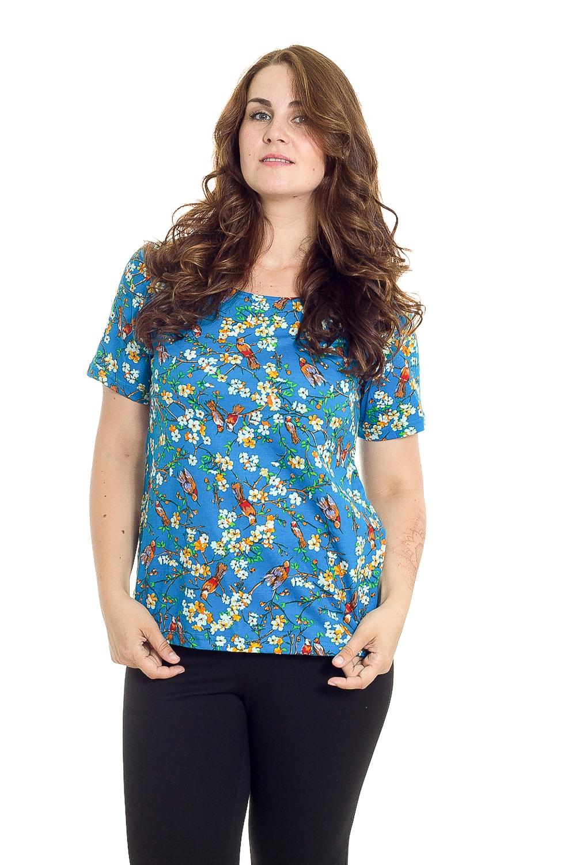ФуфайкаФутболки<br>Уютная домашняя футболка с круглой горловиной и короткими рукавами. Домашняя одежда, прежде всего, должна быть удобной, практичной и красивой. В наших изделиях Вы будете чувствовать себя комфортно, особенно, по вечерам после трудового дня.  В изделии использованы цвета: синий, белый, оранжевый и др.  Рост девушки-фотомодели 180 см<br><br>Горловина: С- горловина<br>По длине: Удлиненные<br>По рисунку: Растительные мотивы,Цветные,Цветочные,С принтом<br>По сезону: Весна,Зима,Лето,Осень,Всесезон<br>По силуэту: Полуприталенные<br>Рукав: Короткий рукав<br>По материалу: Трикотаж,Хлопок<br>Размер : 48<br>Материал: Трикотаж<br>Количество в наличии: 1