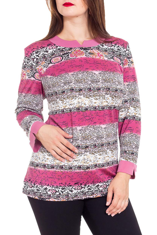 БлузкаТуники<br>Красивая блузка с фигурной горловиной и длинными рукавами. Модель выполнена из приятного трикотажа. Отличный выбор для повседневного гардероба. Ростовка изделия 170 см.  В изделии использованы цвета: розовый, белый и др.  Рост девушки-фотомодели 180 см.<br><br>Горловина: Фигурная горловина<br>По материалу: Трикотаж<br>По рисунку: С принтом,Цветные<br>По сезону: Зима,Осень,Весна<br>По силуэту: Полуприталенные<br>По стилю: Повседневный стиль<br>Рукав: Длинный рукав<br>Размер : 60,62,64,66,68,70,72,74,76,78<br>Материал: Холодное масло<br>Количество в наличии: 12