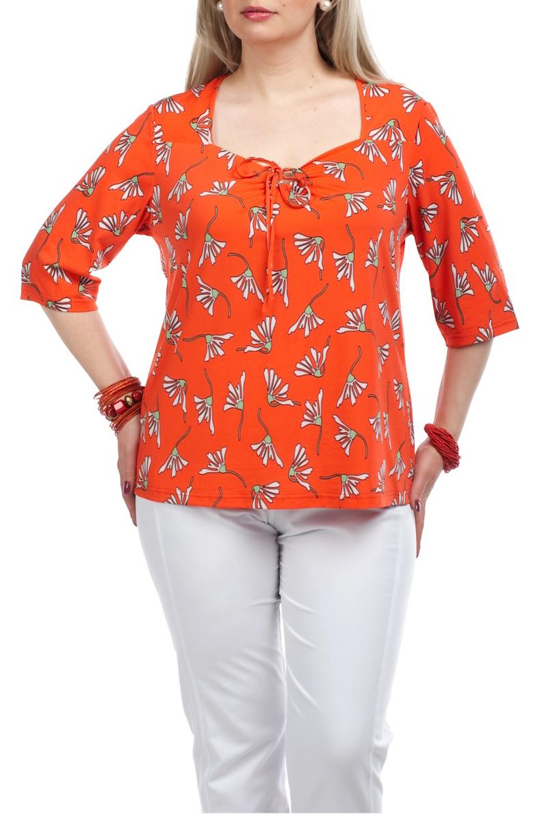 БлузкаБлузки<br>Яркая блузка с рукавами 3/4. Модель выполнена из приятного материала. Отличный выбор для повседневного гардероба.  Цвет: оранжевый, белый  Рост девушки-фотомодели 173 см.<br><br>По материалу: Вискоза,Трикотаж<br>По рисунку: Растительные мотивы,Цветные,Цветочные,С принтом<br>По сезону: Весна,Всесезон,Зима,Лето,Осень<br>По стилю: Повседневный стиль<br>Рукав: Рукав три четверти<br>Горловина: Фигурная горловина<br>По силуэту: Прямые<br>Размер : 52,62<br>Материал: Холодное масло<br>Количество в наличии: 2