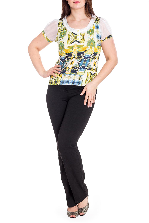 БлузкаБлузки<br>Цветная блузка с короткими рукавами фонарик. Модель выполнена из приятного материала. Отличный выбор для любого случая.  В изделии использованы цвета: белый, зеленый и др.  Рост девушки-фотомодели 180 см<br><br>Горловина: С- горловина<br>По материалу: Вискоза,Трикотаж,Шифон<br>По рисунку: Абстракция,С принтом,Цветные<br>По сезону: Весна,Зима,Лето,Осень,Всесезон<br>По силуэту: Приталенные<br>По стилю: Повседневный стиль<br>По элементам: С манжетами<br>Рукав: Короткий рукав<br>Размер : 44,46,48,50,52,54<br>Материал: Вискоза + Шифон<br>Количество в наличии: 6