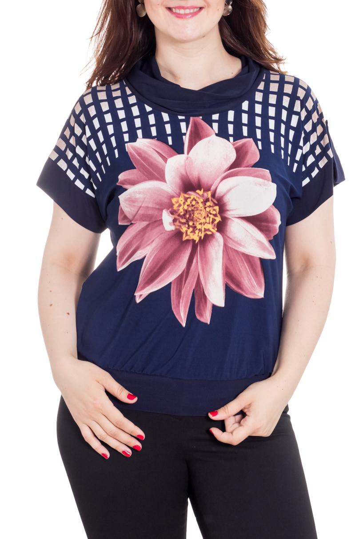 БлузкаБлузки<br>Унивесальная блузка с короткими рукавами. Модель выполнена из приятного трикотажа. Отличный выбор для любого случая.  Цвет: синий, белый, розовый  Рост девушки-фотомодели 180 см<br><br>Воротник: Хомут<br>По материалу: Вискоза,Трикотаж<br>По образу: Город,Свидание<br>По рисунку: В полоску,Растительные мотивы,С принтом,Цветные,Цветочные<br>По сезону: Весна,Зима,Лето,Осень,Всесезон<br>По силуэту: Полуприталенные<br>По стилю: Повседневный стиль<br>Рукав: Короткий рукав<br>Размер : 46,48,50,52,54,56<br>Материал: Холодное масло<br>Количество в наличии: 11