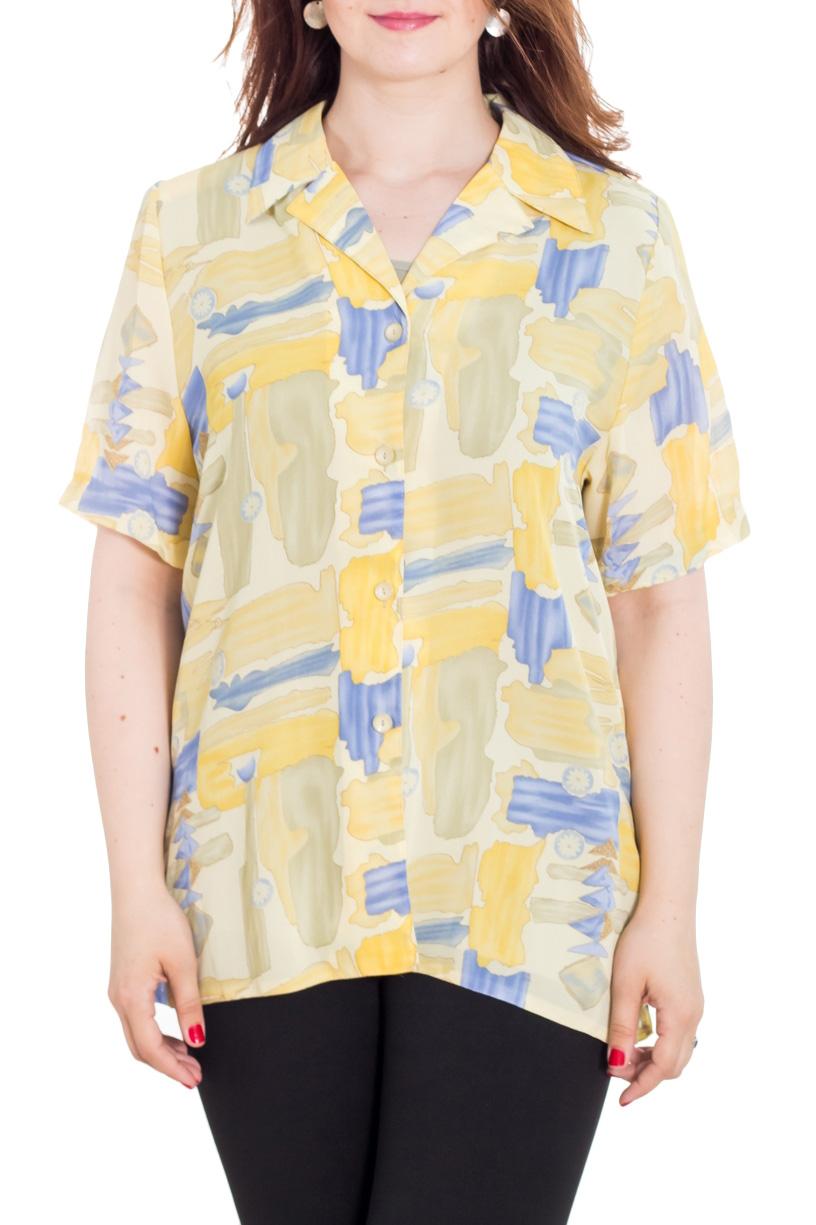 БлузкаБлузки<br>Цветная блузка с застежкой на пуговицы. Модель выполнена из приятного шифона. Отличный выбор для повседневного гардероба. Блузка без майки.  Цвет: желтый, голубой  Рост девушки-фотомодели 180 см<br><br>Воротник: Отложной,Рубашечный<br>Застежка: С пуговицами<br>По материалу: Вискоза,Шифон<br>По образу: Город<br>По рисунку: С принтом,Цветные<br>По сезону: Весна,Зима,Лето,Осень,Всесезон<br>По силуэту: Прямые<br>По стилю: Повседневный стиль<br>Рукав: До локтя<br>Размер : 58,60<br>Материал: Шифон<br>Количество в наличии: 3