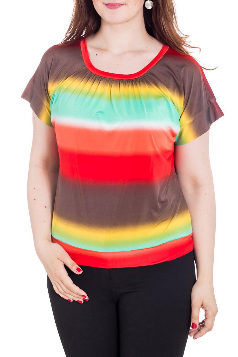 БлузкаБлузки<br>Унивесальная блузка с короткими рукавами. Модель выполнена из приятного трикотажа. Отличный выбор для любого случая.  Цвет: коричневый, красный, желтый, голубой  Рост девушки-фотомодели 180 см<br><br>Горловина: С- горловина<br>По материалу: Вискоза,Трикотаж<br>По рисунку: В полоску,С принтом,Цветные<br>По сезону: Весна,Зима,Лето,Осень,Всесезон<br>По силуэту: Полуприталенные<br>По стилю: Повседневный стиль,Летний стиль<br>Рукав: Короткий рукав<br>Размер : 46,48,50,52,54,56,58<br>Материал: Холодное масло<br>Количество в наличии: 13