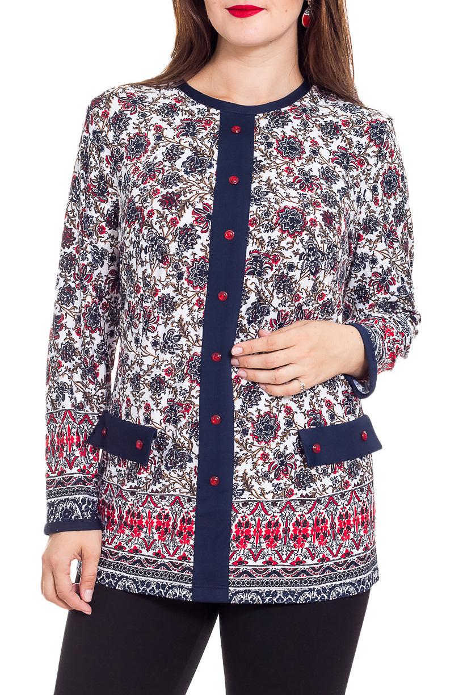 БлузкаБлузки<br>Красивая блузка с круглой горловиной и длинными рукавами. Модель выполнена из приятного трикотажа. Отличный выбор для повседневного гардероба.  В изделии использованы цвета: белый, синий, красный и др.  Рост девушки-фотомодели 180 см.<br><br>Горловина: С- горловина<br>По материалу: Трикотаж<br>По образу: Город<br>По рисунку: С принтом,Цветные<br>По сезону: Весна,Зима,Лето,Осень,Всесезон<br>По силуэту: Полуприталенные<br>По стилю: Повседневный стиль<br>По элементам: С декором,С отделочной фурнитурой<br>Рукав: Длинный рукав<br>Размер : 74,78<br>Материал: Холодное масло<br>Количество в наличии: 2