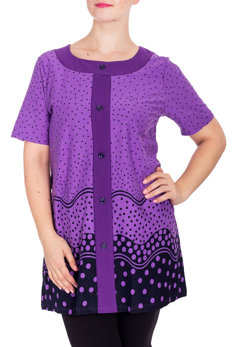 ТуникаТуники<br>Уютная туника из мягкого хлопка. Домашняя одежда, прежде всего, должна быть удобной, практичной и красивой. В тунике Вы будете чувствовать себя комфортно, особенно, по вечерам после трудового дня.  В изделии использованы цвета: фиолетовый, синий  Рост девушки-фотомодели 180 см.<br><br>Горловина: С- горловина<br>По длине: Удлиненные<br>По материалу: Хлопок<br>По рисунку: В горошек,С принтом,Цветные<br>По сезону: Весна,Зима,Лето,Осень,Всесезон<br>По силуэту: Полуприталенные<br>Рукав: Короткий рукав<br>Размер : 56<br>Материал: Хлопок<br>Количество в наличии: 1