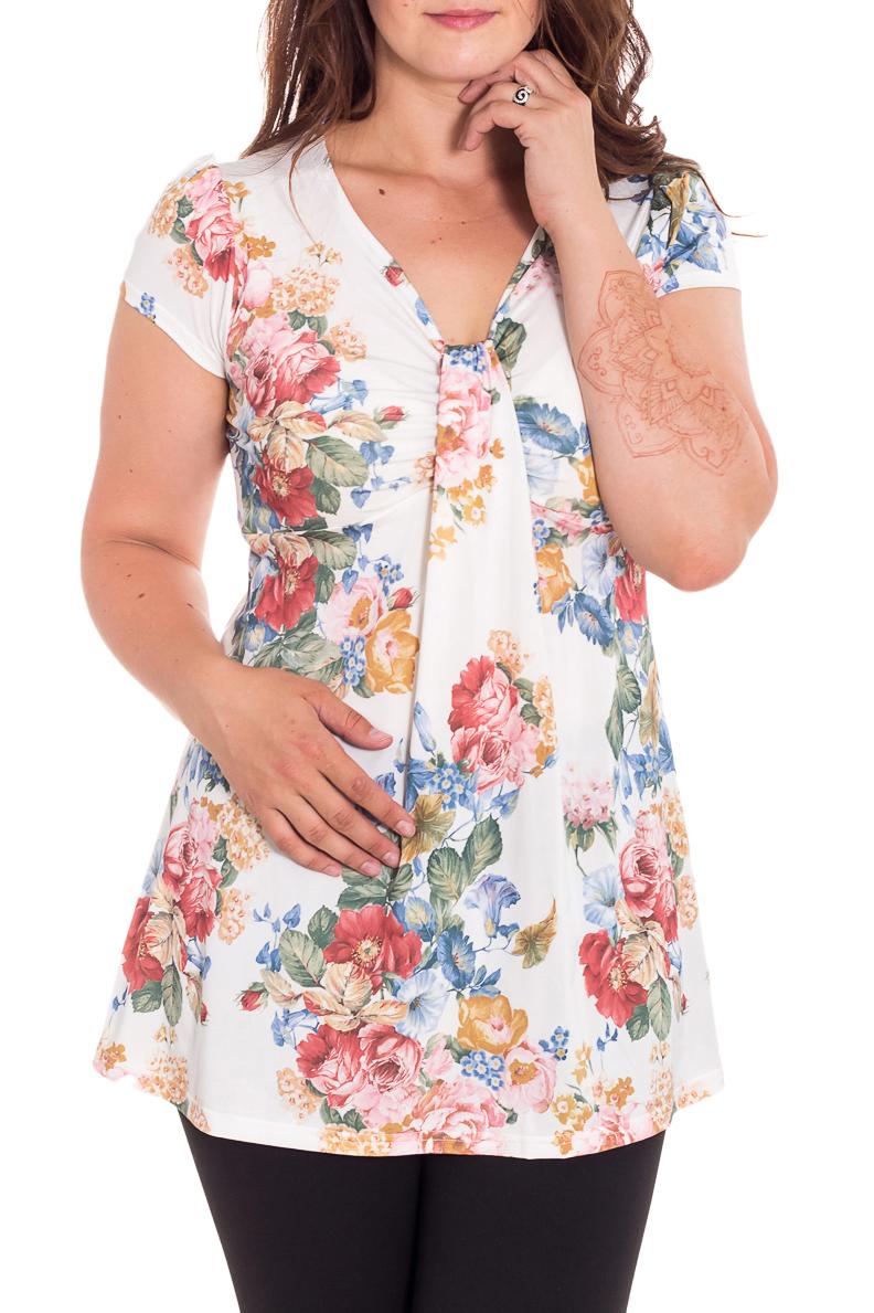 БлузкаБлузки<br>Удлиненная блузка с короткими рукавами. Модель выполнена из приятного трикотажа. Отличный выбор для любого случая.  В изделии использованы цвета: белый, зеленый, коралловый и др.  Рост девушки-фотомодели 180 см<br><br>Горловина: V- горловина<br>По материалу: Вискоза,Трикотаж<br>По рисунку: Растительные мотивы,С принтом,Цветные,Цветочные<br>По сезону: Весна,Зима,Лето,Осень,Всесезон<br>По силуэту: Полуприталенные<br>По стилю: Повседневный стиль,Летний стиль<br>Рукав: Короткий рукав<br>Размер : 48,50,52,56<br>Материал: Холодное масло<br>Количество в наличии: 6