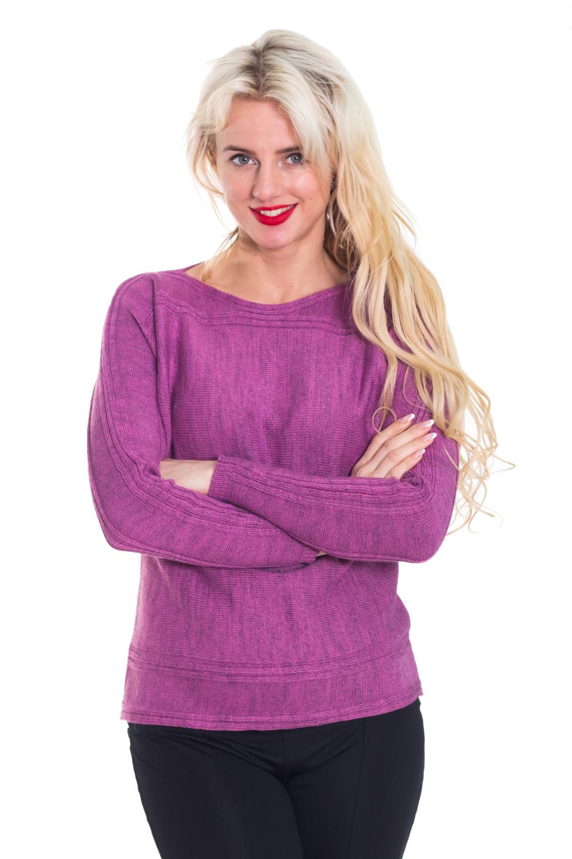 ДжемперДжемперы<br>Яркий джемпер с круглой горловиной и длинными рукавами. Модель выполнена из вязаного трикотажа. Вязаный трикотаж - это красота, тепло и комфорт. В вязаных вещах очень легко оставаться женственной и в то же время не замёрзнуть.  Цвет: фиолетовый  Рост девушки-фотомодели 170 см<br><br>Рукав: Длинный рукав<br>Горловина: Лодочка<br>Материал: Вязаные,Трикотаж<br>Рисунок: Однотонные,Фактурный рисунок<br>Сезон: Зима<br>Силуэт: Полуприталенные<br>Стиль: Повседневный стиль<br>Размер : 44,46,48<br>Материал: Вязаное полотно<br>Количество в наличии: 3