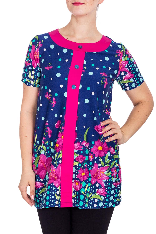 ТуникаТуники<br>Уютная туника из мягкого хлопка. Домашняя одежда, прежде всего, должна быть удобной, практичной и красивой. В тунике Вы будете чувствовать себя комфортно, особенно, по вечерам после трудового дня.  В изделии использованы цвета: синий, розовый и др.  Рост девушки-фотомодели 180 см.<br><br>Горловина: С- горловина<br>По длине: Удлиненные<br>По материалу: Хлопок<br>По рисунку: В горошек,Растительные мотивы,С принтом,Цветные,Цветочные<br>По сезону: Весна,Зима,Лето,Осень,Всесезон<br>По силуэту: Полуприталенные<br>Рукав: Короткий рукав<br>Размер : 48<br>Материал: Хлопок<br>Количество в наличии: 1