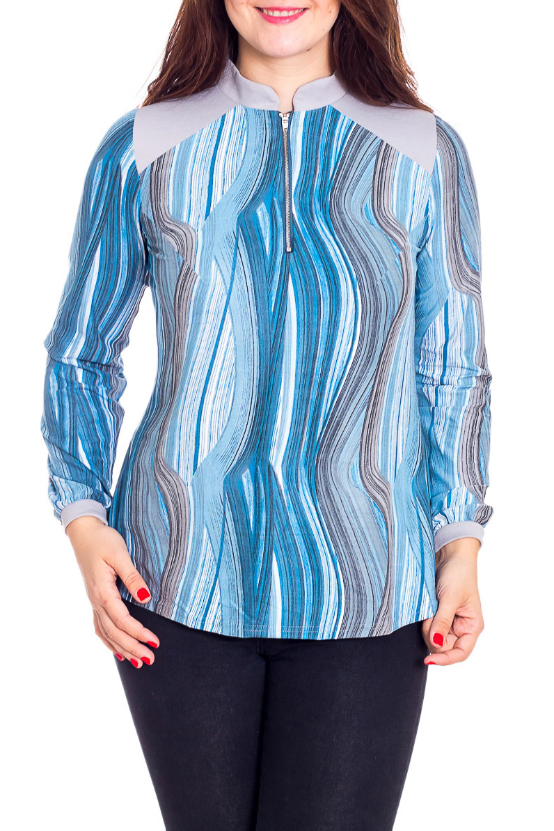 Блузка пуловер большого размера с воротником стойкой из тонкого трикотажа