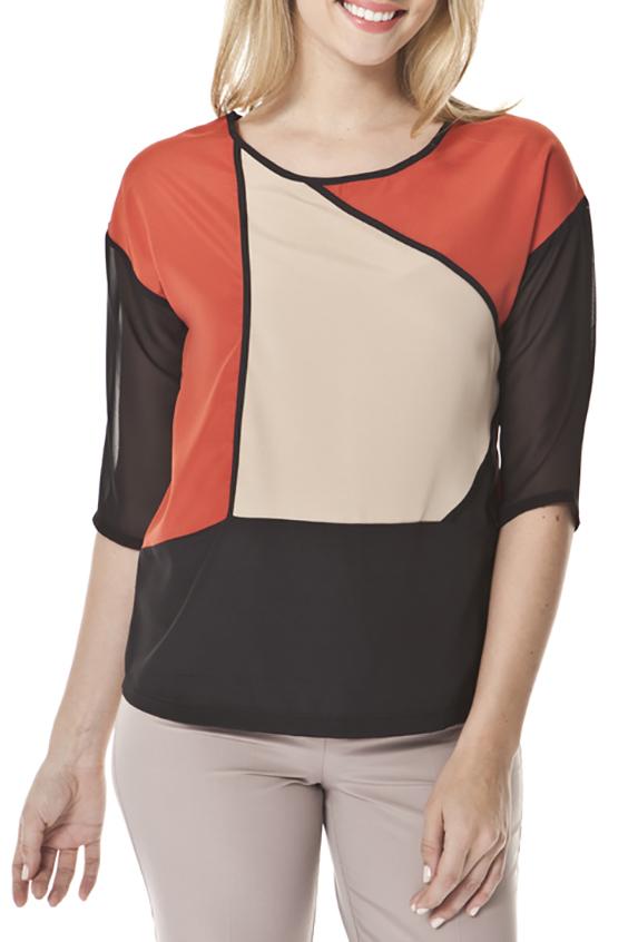 БлузкаБлузки<br>Цветная блузка с круглой горловиной и рукавами 3/4. Модель выполнена из приятного материала. Отличный выбор для любого случая.  Цвет: коричневый, бежевый, оранжевый  Ростовка изделия 170 см.<br><br>Горловина: С- горловина<br>По материалу: Вискоза,Трикотаж<br>По образу: Город,Свидание<br>По рисунку: Цветные<br>По сезону: Весна,Зима,Лето,Осень,Всесезон<br>По силуэту: Приталенные<br>По стилю: Повседневный стиль<br>Рукав: Рукав три четверти<br>Размер : 44,46,48<br>Материал: Искусственный шелк + Шифон<br>Количество в наличии: 3