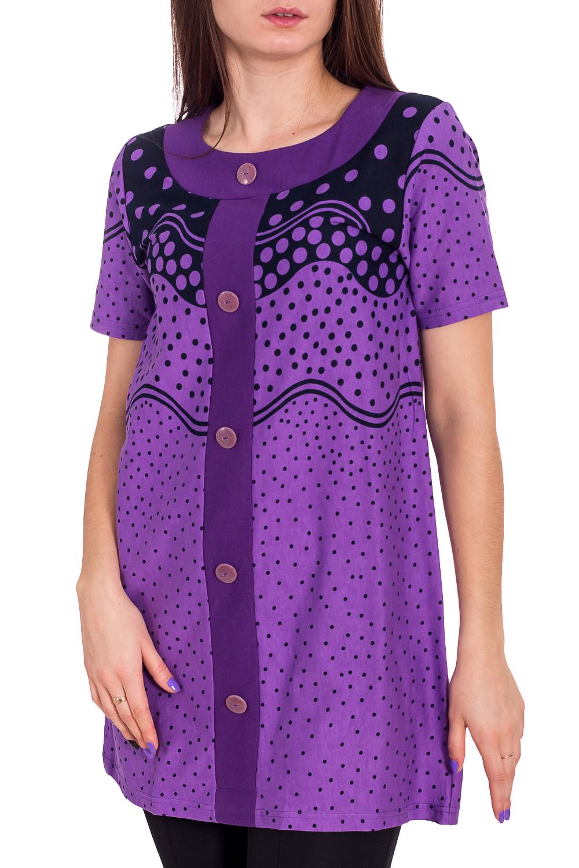 ТуникаТуники<br>Уютная туника из мягкого хлопка. Домашняя одежда, прежде всего, должна быть удобной, практичной и красивой. В тунике Вы будете чувствовать себя комфортно, особенно, по вечерам после трудового дня.  В изделии использованы цвета: фиолетовый, синий  Рост девушки-фотомодели 173 см.<br><br>Горловина: С- горловина<br>По длине: Удлиненные<br>По материалу: Хлопок<br>По рисунку: В горошек,С принтом,Цветные<br>По сезону: Весна,Зима,Лето,Осень,Всесезон<br>По силуэту: Полуприталенные<br>Рукав: Короткий рукав<br>Размер : 44<br>Материал: Хлопок<br>Количество в наличии: 1