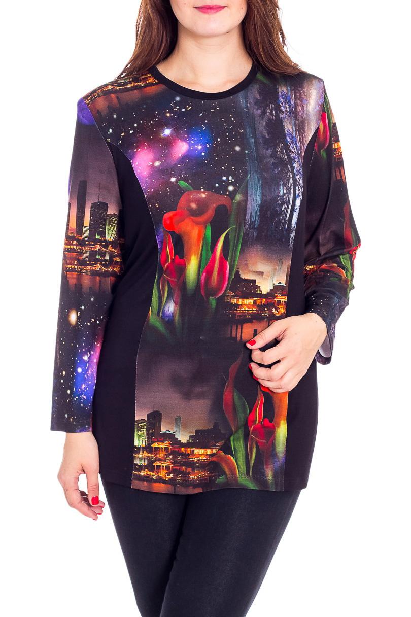 БлузкаБлузки<br>Цветная блузка с круглой горловиной и длинными рукавами. Модель выполнена из мягкой вискозы. Отличный выбор для повседневного гардероба.  В изделии использованы цвета: черный и др.  Рост девушки-фотомодели 180 см<br><br>Горловина: С- горловина<br>По материалу: Вискоза<br>По рисунку: С принтом,Цветные<br>По сезону: Весна,Зима,Лето,Осень,Всесезон<br>По силуэту: Прямые<br>По стилю: Повседневный стиль<br>Рукав: Длинный рукав<br>Размер : 64,66,70,72,74,76,78<br>Материал: Вискоза<br>Количество в наличии: 7