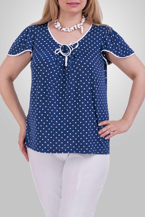 БлузкаБлузки<br>Женственная блузка с короткими рукавами. Модель выполнена из приятного материала. Отличный выбор для повседневного гардероба.  Цвет: синий, белый  Рост девушки-фотомодели 173 см.<br><br>Горловина: С- горловина<br>По материалу: Трикотаж<br>По рисунку: В горошек,Цветные,С принтом<br>По сезону: Весна,Всесезон,Зима,Лето,Осень<br>По стилю: Повседневный стиль<br>По элементам: С декором<br>Рукав: Короткий рукав<br>По силуэту: Прямые<br>Размер : 54,56,64,66,68,70<br>Материал: Холодное масло<br>Количество в наличии: 11
