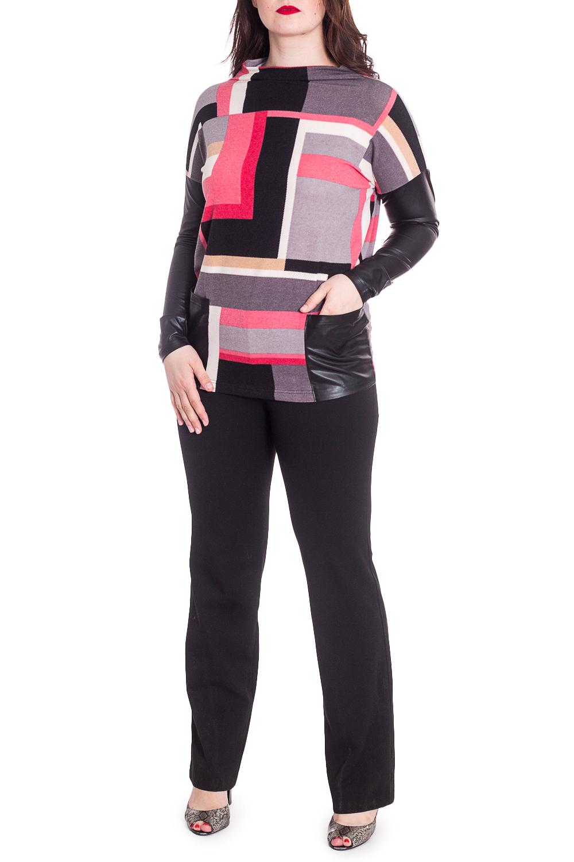 ДжемперДжемперы<br>Цветной джемпер с кожаными рукавами. Модель выполнена из приятного материала. Отличный выбор для повседневного гардероба.  В изделии использованы цвета: серый, черный, коралловый  Рост девушки-фотомодели 180 см<br><br>Горловина: Лодочка<br>По материалу: Искусственная кожа,Трикотаж<br>По рисунку: С принтом,Цветные<br>По силуэту: Приталенные<br>По стилю: Повседневный стиль<br>По элементам: С кожаными вставками<br>Рукав: Длинный рукав<br>По сезону: Осень,Весна<br>Размер : 46,48,50,52<br>Материал: Трикотаж + Искусственная кожа<br>Количество в наличии: 4