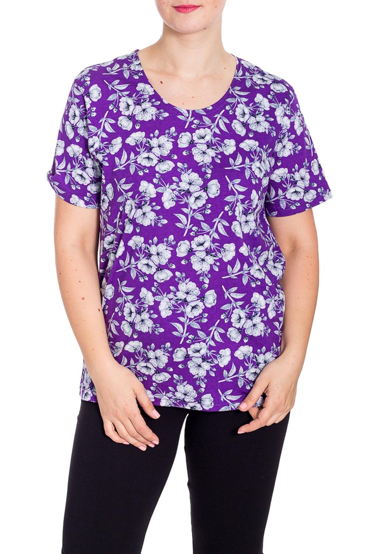 ДжемперФутболки<br>Уютная футболка из мягкого хлопка. Домашняя одежда, прежде всего, должна быть удобной, практичной и красивой. В наших изделиях Вы будете чувствовать себя комфортно, особенно, по вечерам после трудового дня.  В изделии использованы цвета: фиолетовый, серый и др.  Рост девушки-фотомодели 180 см.<br><br>Горловина: С- горловина<br>По длине: Средней длины<br>По материалу: Хлопок<br>По рисунку: Растительные мотивы,С принтом,Цветные,Цветочные<br>По сезону: Весна,Зима,Лето,Осень,Всесезон<br>По силуэту: Полуприталенные<br>Рукав: Короткий рукав<br>Размер : 48<br>Материал: Хлопок<br>Количество в наличии: 1