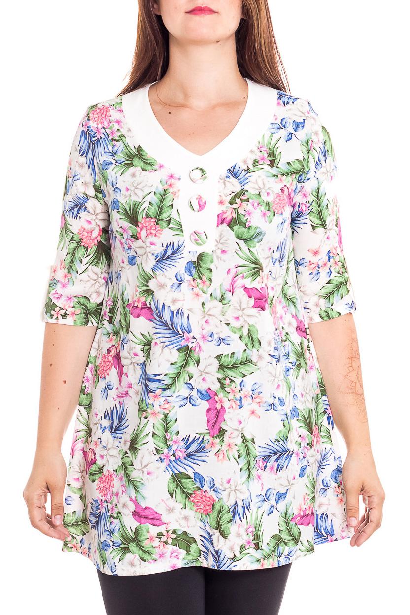 БлузкаТуники<br>Удлиненная блузка с рукавами 3/4. Модель выполнена из приятного трикотажа. Отличный выбор для любого случая.  В изделии использованы цвета: белый, зеленый, голубой и др.  Рост девушки-фотомодели 180 см<br><br>Горловина: V- горловина<br>По материалу: Вискоза,Тканевые<br>По рисунку: Растительные мотивы,С принтом,Цветные,Цветочные<br>По силуэту: Свободные<br>По стилю: Повседневный стиль,Летний стиль<br>Рукав: До локтя<br>По сезону: Лето<br>Размер : 48,50,52,54,58<br>Материал: Блузочная ткань<br>Количество в наличии: 5