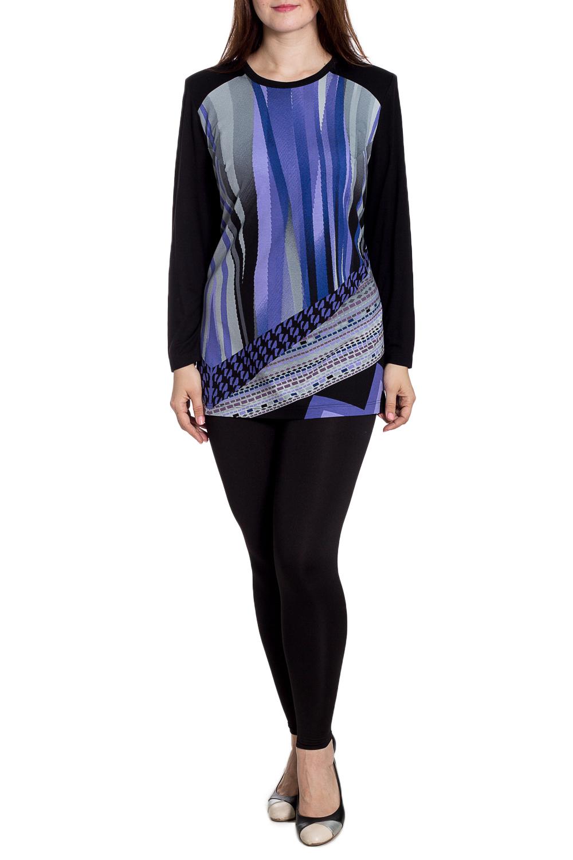 БлузкаБлузки<br>Цветная блузка с длинными рукавами. Модель выполнена из мягкого трикотажа. Отлиный выбор для повседневного гардероба.  В изделии использованы цвета: черный, серый, фиолетовый  Рост девушки-фотомодели 180 см.<br><br>Горловина: С- горловина<br>По материалу: Вискоза,Трикотаж<br>По образу: Город<br>По рисунку: С принтом,Цветные<br>По сезону: Весна,Зима,Лето,Осень,Всесезон<br>По силуэту: Прямые<br>По стилю: Повседневный стиль<br>Рукав: Длинный рукав<br>Размер : 62,64,66,68,72<br>Материал: Трикотаж<br>Количество в наличии: 5
