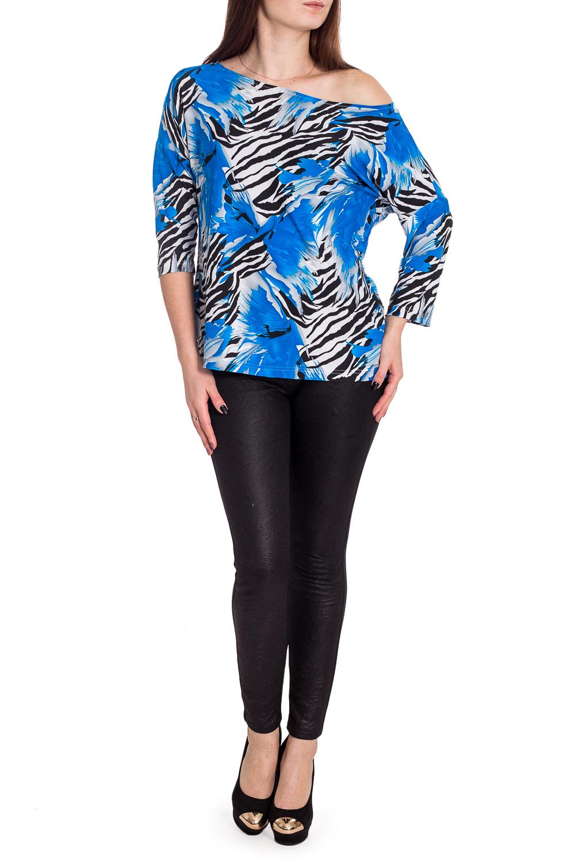 БлузкаБлузки<br>Красивая блузка с элегантной горловиной. Модель выполнена из приятного материала. Отличный выбор для повседневного гардероба.  В изделии использованы цвета: белый, синий, черный  Рост девушки-фотомодели 173 см.<br><br>Горловина: Лодочка<br>По материалу: Тканевые<br>По образу: Город,Свидание<br>По рисунку: Зебра,Растительные мотивы,С принтом,Цветные,Цветочные<br>По сезону: Весна,Зима,Лето,Осень,Всесезон<br>По силуэту: Полуприталенные<br>По стилю: Повседневный стиль<br>Рукав: Рукав три четверти<br>Размер : 44<br>Материал: Блузочная ткань<br>Количество в наличии: 1
