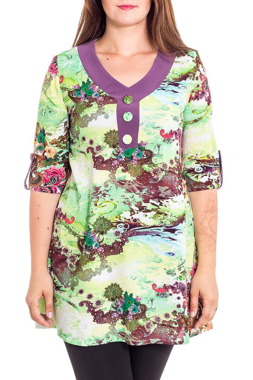 БлузкаТуники<br>Удлиненная блузка с рукавами 3/4. Модель выполнена из приятного трикотажа. Отличный выбор для любого случая.  В изделии использованы цвета: зеленый, фиолетовый и др.  Рост девушки-фотомодели 180 см<br><br>Горловина: V- горловина<br>По материалу: Вискоза,Тканевые<br>По образу: Город<br>По рисунку: С принтом,Цветные<br>По силуэту: Полуприталенные<br>По стилю: Повседневный стиль<br>По элементам: С патами<br>Рукав: Рукав три четверти,До локтя<br>По сезону: Лето<br>Размер : 50,52,54,56,58<br>Материал: Блузочная ткань<br>Количество в наличии: 5