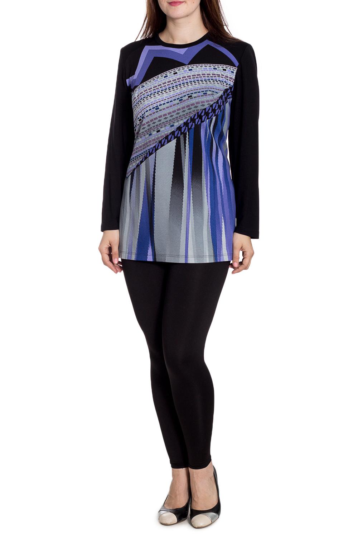 БлузкаБлузки<br>Цветная блузка с длинными рукавами. Модель выполнена из мягкого трикотажа. Отлиный выбор для повседневного гардероба.  В изделии использованы цвета: черный, серый, фиолетовый  Рост девушки-фотомодели 180 см.<br><br>Горловина: С- горловина<br>По материалу: Вискоза,Трикотаж<br>По рисунку: С принтом,Цветные<br>По сезону: Весна,Зима,Лето,Осень,Всесезон<br>По силуэту: Прямые<br>По стилю: Повседневный стиль<br>Рукав: Длинный рукав<br>Размер : 62,64,66,68,70,74<br>Материал: Трикотаж<br>Количество в наличии: 6