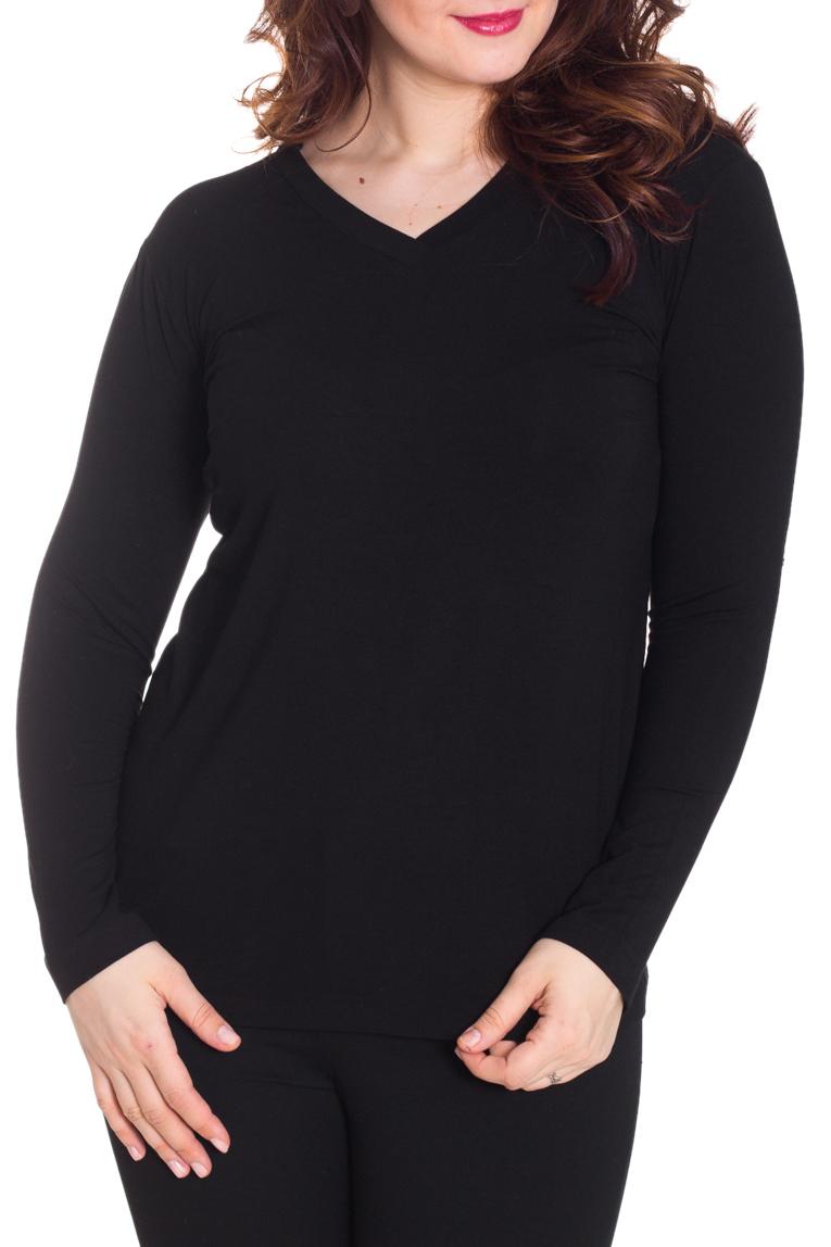 ПуловерПуловеры<br>Однотонный пуловер с длинными рукавами. Отличный выбор для базового гардероба.  Цвет: черный  Рост девушки-фотомодели 180 см.<br><br>По образу: Город,Свидание<br>По стилю: Повседневный стиль<br>По материалу: Вискоза,Трикотаж<br>По рисунку: Однотонные<br>По сезону: Весна,Осень<br>По силуэту: Полуприталенные<br>Рукав: Длинный рукав<br>Горловина: V- горловина<br>Размер: 50,52,54,56,58<br>Материал: 95% вискоза 5% лайкра<br>Количество в наличии: 4