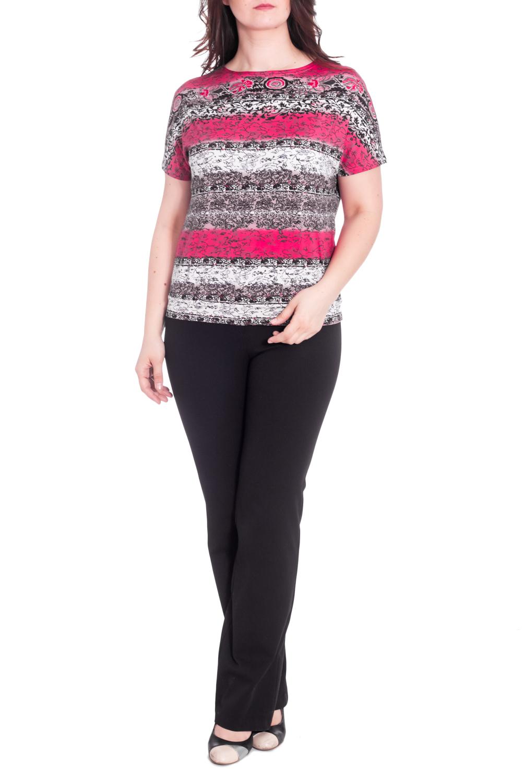 БлузкаБлузки<br>Цветная блузка с круглой горловиной и короткими рукавами. Модель выполнена из приятного материала. Отличный вариант для повседневного гардероба.  В изделии использованы цвета: серо-коричневый, розовый и др.  Рост девушки-фотомодели 180 см<br><br>Горловина: С- горловина<br>По материалу: Трикотаж<br>По рисунку: С принтом,Цветные<br>По сезону: Весна,Зима,Лето,Осень,Всесезон<br>По силуэту: Полуприталенные<br>По стилю: Повседневный стиль<br>Рукав: Короткий рукав<br>Размер : 48,50,54,56,58,60<br>Материал: Трикотаж<br>Количество в наличии: 6