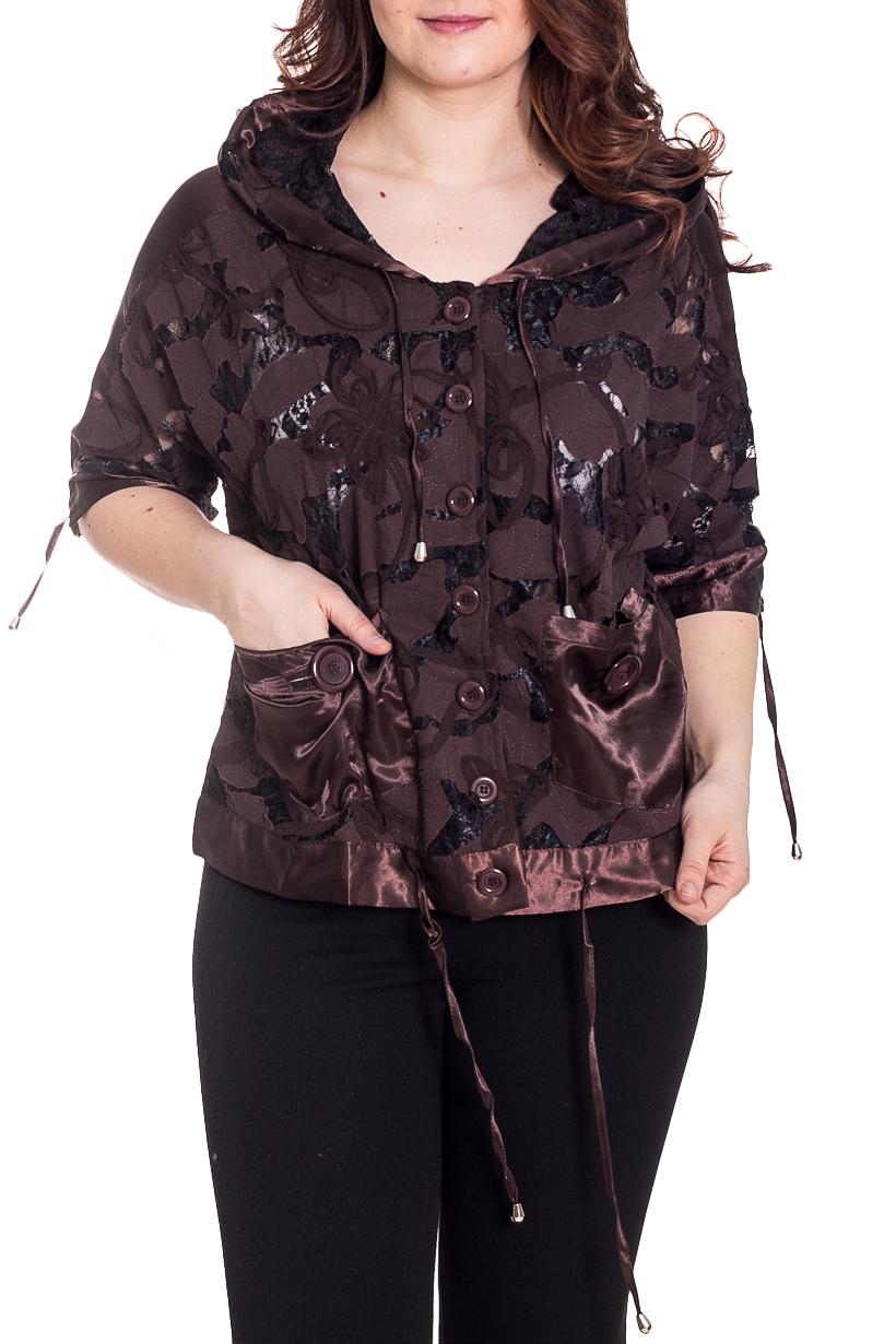БлузкаБлузки<br>Необычная блузка с капюшоном, рукавами до локтя и застежкой на пуговицы. Модель выполнена из гладкого атласа и фактурного гипюра. Отличный выбор для эффектного выхода.  Цвет: коричневый  Рост девушки-фотомодели 180 см.<br><br>Застежка: С пуговицами<br>По материалу: Атлас,Гипюр<br>По образу: Свидание<br>По рисунку: Однотонные<br>По сезону: Весна,Всесезон,Зима,Лето,Осень<br>По силуэту: Свободные<br>По стилю: Нарядный стиль<br>По элементам: С декором,С карманами<br>Рукав: До локтя<br>Размер : 58,60<br>Материал: Гипюр + Атлас<br>Количество в наличии: 2