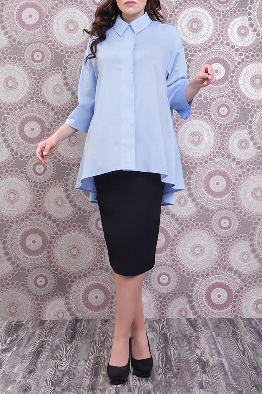БлузкаБлузки<br>Удлиненная блузка с рубашечным воротником и рукавами 3/4. Модель выполнена из приятного материала. Отличный выбор для любого случая.  Цвет: голубой  Ростовка изделия 170 см.<br><br>Воротник: Рубашечный<br>Застежка: С пуговицами<br>По материалу: Тканевые,Хлопок<br>По образу: Город,Офис,Свидание<br>По рисунку: Однотонные<br>По сезону: Весна,Зима,Лето,Осень,Всесезон<br>По силуэту: Полуприталенные<br>По стилю: Офисный стиль,Повседневный стиль<br>По элементам: С фигурным низом<br>Рукав: Рукав три четверти<br>Размер : 52<br>Материал: Блузочная ткань<br>Количество в наличии: 1