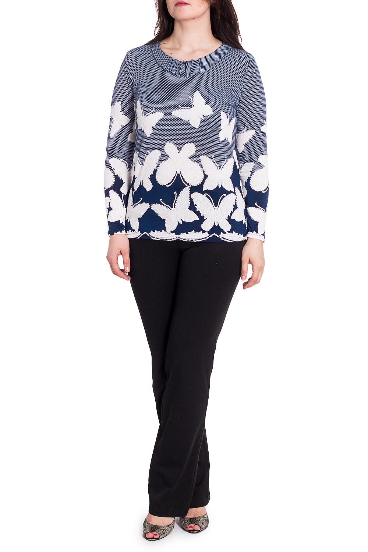БлузкаБлузки<br>Цветная блузка с длинными рукавами. Модель выполнена из приятного трикотажа. Отличный выбор для любого случая.  В изделии использованы цвета: синий, белый  Рост девушки-фотомодели 180 см<br><br>Воротник: Отложной<br>Горловина: С- горловина<br>По материалу: Трикотаж<br>По рисунку: Бабочки,С принтом,Цветные<br>По сезону: Весна,Зима,Лето,Осень,Всесезон<br>По силуэту: Полуприталенные<br>По стилю: Повседневный стиль<br>Рукав: Длинный рукав<br>Размер : 48,50,52,54,56,58<br>Материал: Холодное масло<br>Количество в наличии: 22