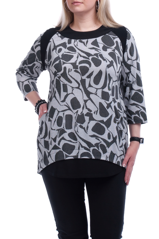 ТуникаТуники<br>Удлиненная женская туника с фигурной горловиной и рукавами 3/4. Модель выполнена из плотного трикотажа. Отличный выбор для повседневного гардероба.  Цвет: серый, черный  Рост девушки-фотомодели 173 см.<br><br>Горловина: С- горловина<br>По материалу: Вискоза,Трикотаж<br>По рисунку: Абстракция,Цветные<br>По сезону: Весна,Осень<br>По силуэту: Прямые<br>По стилю: Повседневный стиль<br>По элементам: С декором<br>Рукав: Рукав три четверти<br>Размер : 52,54,56,58,60,66<br>Материал: Вискоза<br>Количество в наличии: 13