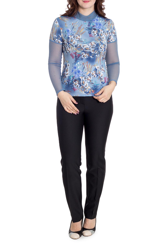 БлузкаБлузки<br>Практичная блузка из трикотажа  холодное масло. Модный принт в этом сезоне - ромашки, добавят хорошего настроения. По горловине заложены небольшие складочки, рукава выполнены из сеточки в тон.  В изделии использованы цвета: голубой и др.  Рост девушки-фотомодели 180 см.<br><br>Воротник: Стойка<br>По материалу: Гипюровая сетка,Трикотаж<br>По рисунку: Растительные мотивы,С принтом,Цветные,Цветочные<br>По сезону: Весна,Зима,Лето,Осень,Всесезон<br>По силуэту: Полуприталенные<br>По стилю: Повседневный стиль<br>Рукав: Длинный рукав<br>Размер : 46,52,54<br>Материал: Хлопок + Гипюровая сетка<br>Количество в наличии: 3