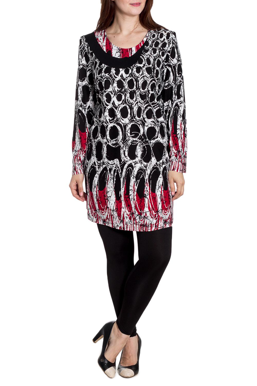 БлузкаБлузки<br>Удлиненная блузка с длинными рукавами. Модель выполнена из мягкого трикотажа. Отлиный выбор для повседневного гардероба. Ростовка изделия 164-170 см.  В изделии использованы цвета: черный, белый, красный  Рост девушки-фотомодели 180 см.<br><br>Горловина: С- горловина<br>По материалу: Вискоза,Трикотаж<br>По рисунку: С принтом,Цветные<br>По сезону: Весна,Зима,Лето,Осень,Всесезон<br>По силуэту: Полуприталенные<br>По стилю: Повседневный стиль<br>Рукав: Длинный рукав<br>Размер : 60,62,66,68,74<br>Материал: Трикотаж<br>Количество в наличии: 5
