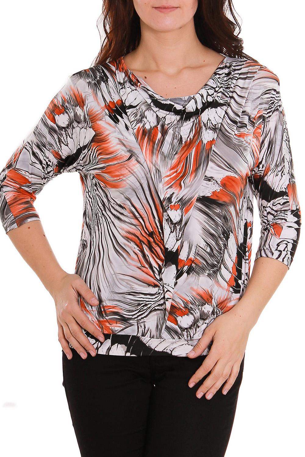 БлузкаБлузки<br>Женская блузка из приятной вискозы с абстрактным принтом.  Рост девушки-фотомодели 180 см.<br><br>Горловина: Качель<br>По материалу: Вискоза<br>По рисунку: Цветные,С принтом<br>По сезону: Зима,Осень,Весна,Лето,Всесезон<br>Рукав: Рукав три четверти<br>По стилю: Повседневный стиль<br>По силуэту: Приталенные<br>Размер : 48<br>Материал: Вискоза<br>Количество в наличии: 1