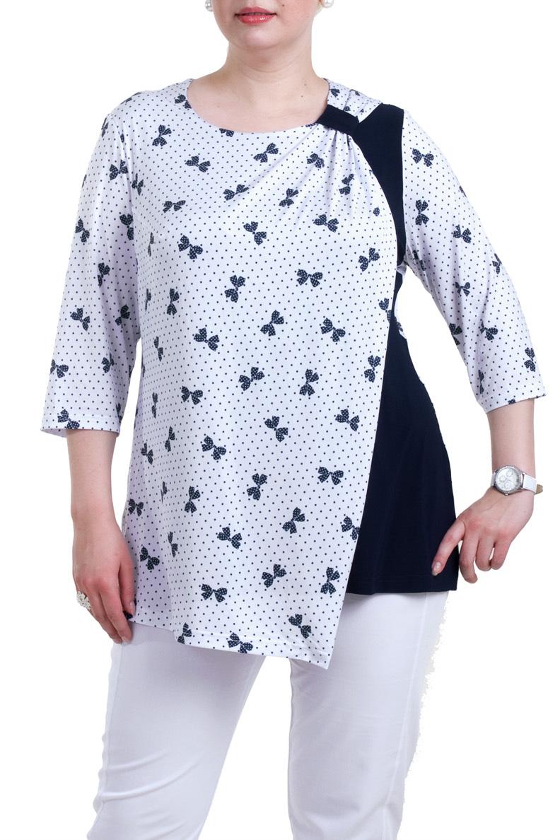 БлузкаБлузки<br>Красивая блузка с рукавами 3/4. Модель выполнена из приятного материала. Отличный выбор для любого случая.  Цвет: белый, синий  Рост девушки-фотомодели 173 см.<br><br>Горловина: С- горловина<br>По материалу: Трикотаж<br>По рисунку: Цветные,С принтом<br>По сезону: Весна,Всесезон,Зима,Лето,Осень<br>По стилю: Повседневный стиль<br>По элементам: С декором<br>Рукав: Рукав три четверти<br>По силуэту: Прямые<br>Размер : 58,64,66,68<br>Материал: Холодное масло<br>Количество в наличии: 4