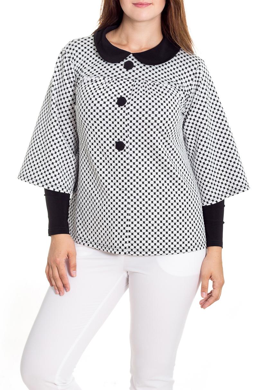 БлузкаБлузки<br>Оригинальная блузка с имитацией накидки и водолазки будет изумительным вариантом повседневного или выходного наряда. Принт в горошек украсит любую леди. Изумительно садясь по фигуре, эта блузка маскирует ее проблемные зоны.  Цвет: белый, черный.  Рост девушки-фотомодели 180 см<br><br>Воротник: Отложной<br>Горловина: С- горловина<br>По материалу: Трикотаж,Вискоза<br>По рисунку: Цветные,С принтом,В горошек<br>По сезону: Весна,Осень,Зима,Всесезон,Лето<br>По силуэту: Полуприталенные<br>По стилю: Повседневный стиль,Винтаж<br>По элементам: С воротником,С декором,С отделочной фурнитурой<br>Рукав: Рукав три четверти,Длинный рукав<br>Застежка: С пуговицами<br>Размер : 46,48,52<br>Материал: Трикотаж<br>Количество в наличии: 3